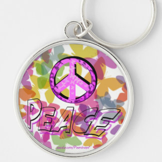 Peace Word Symbol and Butterflies Keychain