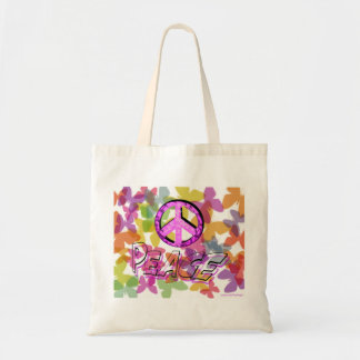 Peace Word Symbol and Butterflies Tote Bag