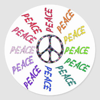 Peace Words Circle Classic Round Sticker
