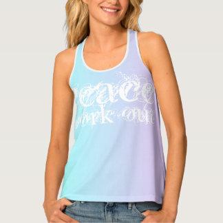 Peace WorkOut Slogan Pastel Blue Purple Yoga Tank Top