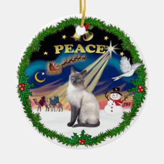 Peace Wreath - Blue Point Siamese Ceramic Ornament