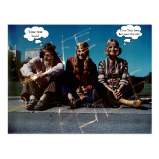 Peace Young Hippies Free Love Vintage Custom Text Postcard