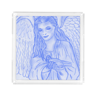 Peaceful Angel in Blue Acrylic Tray