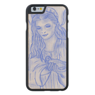 Peaceful Angel in Blue Carved Maple iPhone 6 Case
