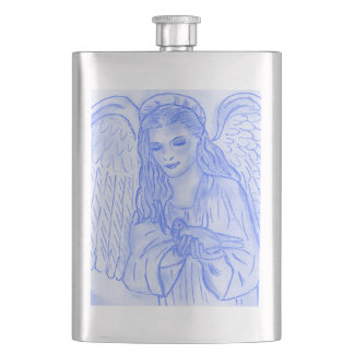 Peaceful Angel in Blue Hip Flask