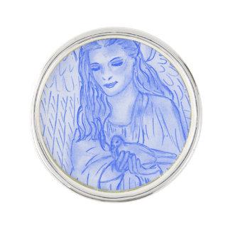 Peaceful Angel in Blue Lapel Pin