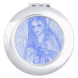 Peaceful Angel in Blue Makeup Mirror