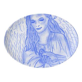 Peaceful Angel in Blue Porcelain Serving Platter