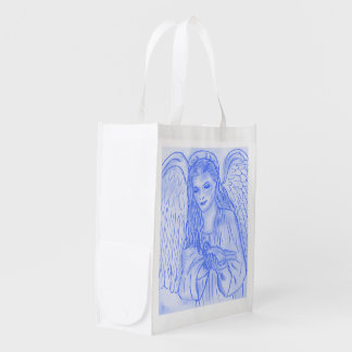 Peaceful Angel in Blue Reusable Grocery Bag