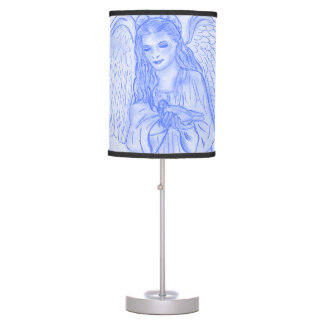 Peaceful Angel in Blue Table Lamp
