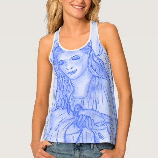 Peaceful Angel in Blue Tank Top