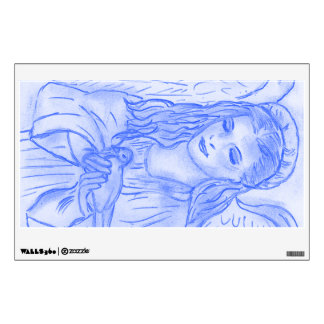 Peaceful Angel in Blue Wall Decal