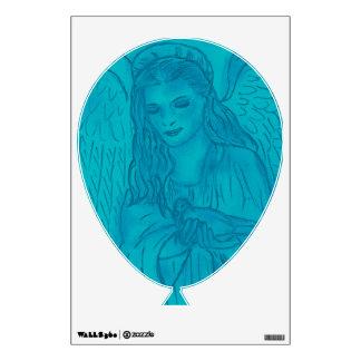 Peaceful Angel In Blue Wall Sticker