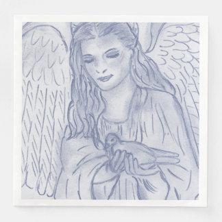 Peaceful Angel in Dusky Blue Disposable Napkin