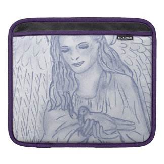 Peaceful Angel in Dusky Blue iPad Sleeves