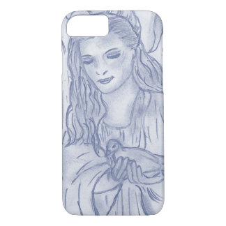 Peaceful Angel in Dusky Blue iPhone 7 Case