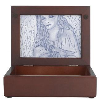 Peaceful Angel in Dusky Blue Keepsake Box