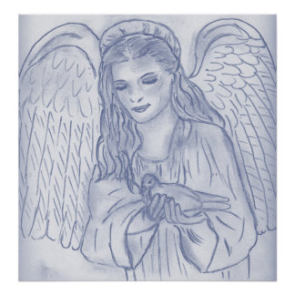 Peaceful Angel in dusky blue Posters