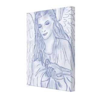 Peaceful Angel in dusky blue Stretched Canvas Print