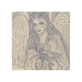 Peaceful Angel in Dusky Blue Wood Wall Art