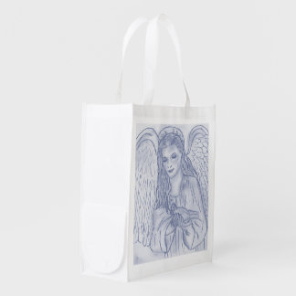 Peaceful Angel in Dusky Blue Grocery Bags