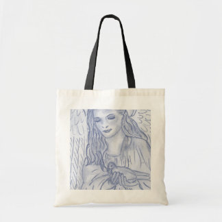 Peaceful Angel in Dusky Blues Budget Tote Bag