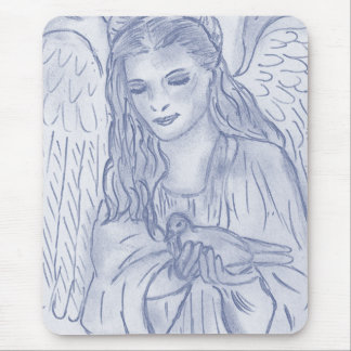 Peaceful Angel in Dusky Blues Mouse Pad