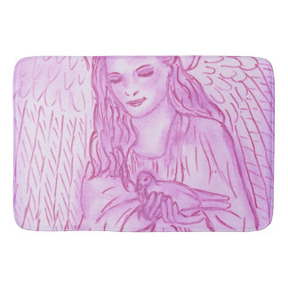 Peaceful Angel in Pink Bath Mat