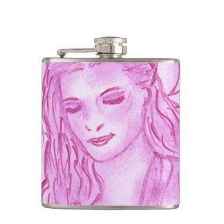 Peaceful Angel in Pink Hip Flask