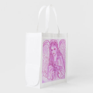 Peaceful Angel in Pink Reusable Grocery Bag