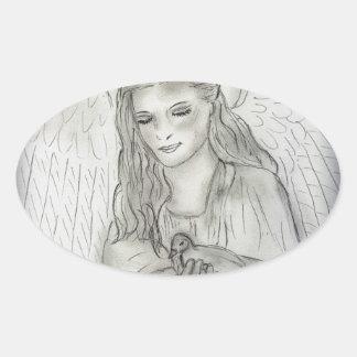 Peaceful Angel Oval Sticker