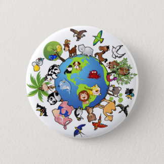 Peaceful Animal Kingdom - Animals Around the World 2 Inch Round Button