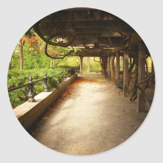 Peaceful Autumn Landscape, Central Park, NYC Round Sticker
