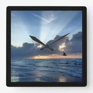 Peaceful beach morning square wall clock