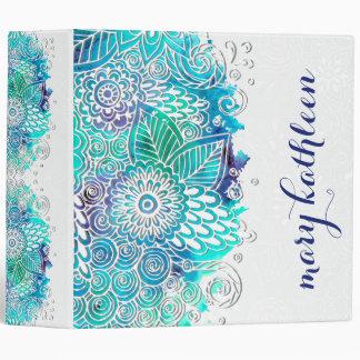 Peaceful Blue and Teal Floral Mandala Motif 3 Ring Binders