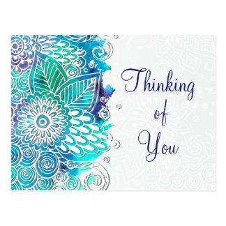 Peaceful Blue and Teal Floral Mandala Motif Postcard