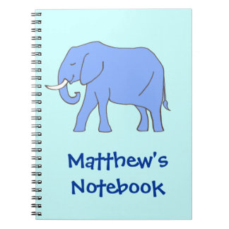Peaceful Blue Elephant Walking with Name Note Books