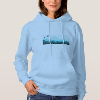 Peaceful blue mountain forest hoodie for women