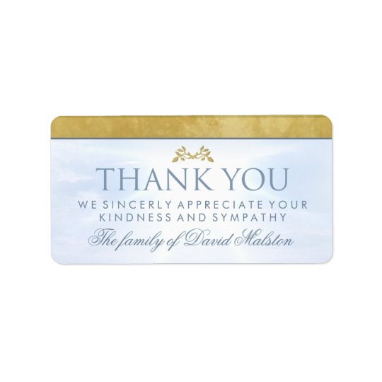 Peaceful Blue Sky Family Thank You Message Label