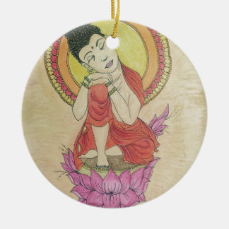 Peaceful buddha ceramic ornament