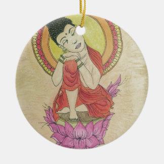 Peaceful buddha round ceramic ornament