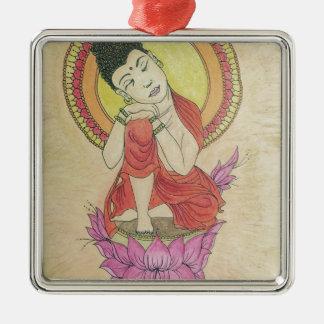 Peaceful buddha Silver-Colored square ornament