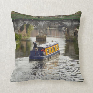 Peaceful Canal and Narrowboat Scene Throw Pillow