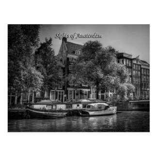 Peaceful Canal Scene, Sights of Amsterdam Postcard