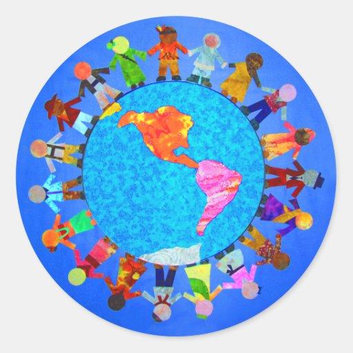 Peaceful Children Round Stickers