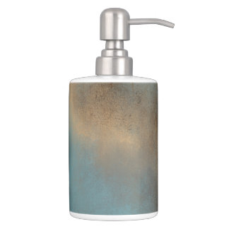 Peaceful Colour Palette- Teal-Blue, Gold and Brown Soap Dispenser And Toothbrush Holder