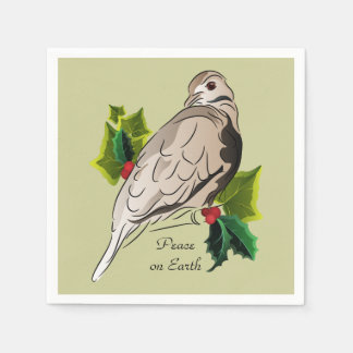 Peaceful Dove with holly and Ivy Paper Napkins