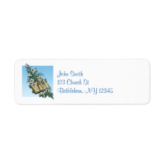 Peaceful Easter Lilies and Open Bible Return Address Label