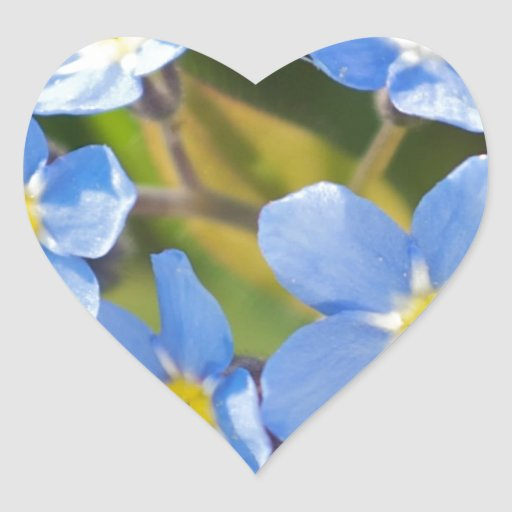 Peaceful Floral Forget Me Not Heart Sticker