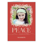 Peaceful Floral Holiday Photo Greeting Card Salmon Card
